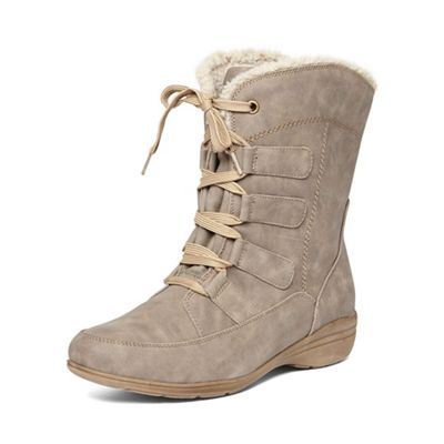 Evans Taupe lace up winter boots | Debenhams