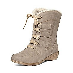 Evans - Taupe lace up winter boots