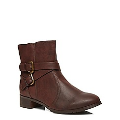 Evans - Brown buckle strap ankle boots