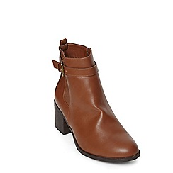 Evans - Evans extra wide fit tan heeled boots