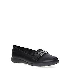 Evans - Extra wide fit black metal trim loafer