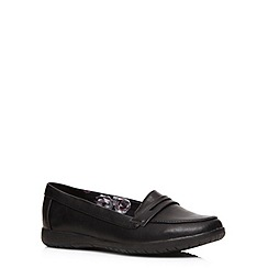 Evans - Extra wide fit black metal trim loafers
