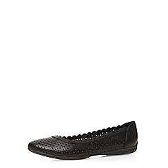 Evans - Extra wide fit black scalloped comfort shoe