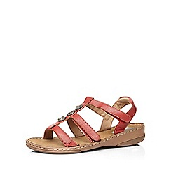 Evans - Extra wide fit red leather gladiator sandal