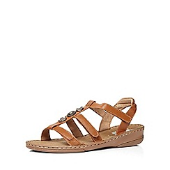Evans - Extra wide fit tan leather gladiator sandal