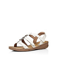 Evans - Extra wide fit white leather gladiator sandal