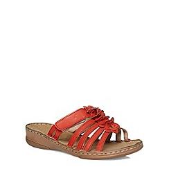Evans - Extra wide fit orange leather flower sandals