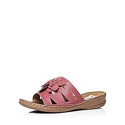 Evans - Extra wide fit pink leather flower sandal