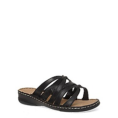 Evans - Extra wide fit black leather strappy sandals