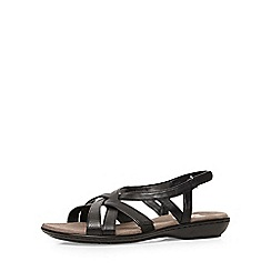 Evans - Extra wide fit black cross strap sandal