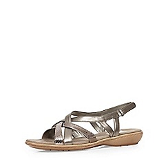 Evans - Extra wide fit silver cross strap sandal