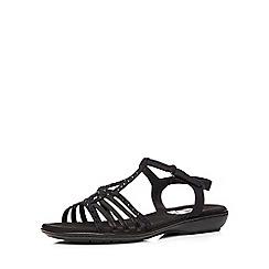 Evans - Extra wide fit black diamante comfort sandal