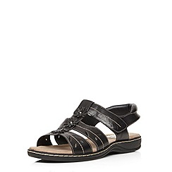 Evans - Extra wide fit black leather comfort sandal