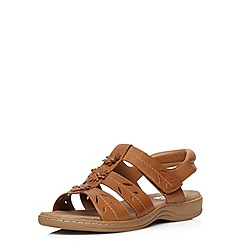 Evans - Extra wide fit tan leather comfort sandal
