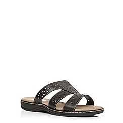 Evans - Extra wide fit black leather mule sandal