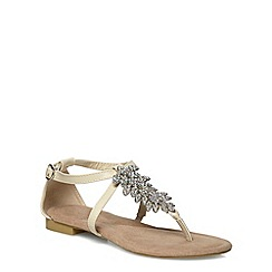 Evans - Extra wide fit nude jewelled toe post sandals