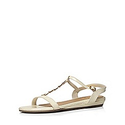 Evans - Extra wide fit white patent bow sandal