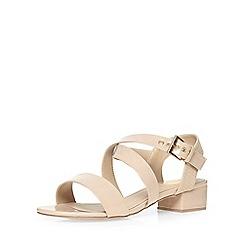 Evans - Extra wide fit nude block heel sandal