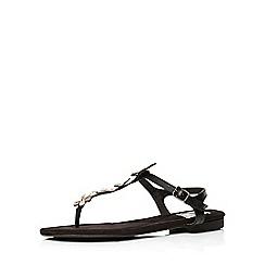 Evans - Extra wide fit black toe post sandal
