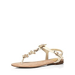 Evans - Extra wide fit nude toe post sandal