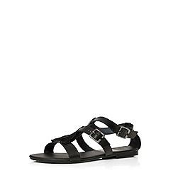 Evans - Extra wide fit black fringed leather sandal