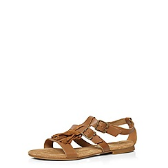 Evans - Extra wide fit tan fringed leather sandal