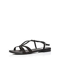 Evans - Extra wide fit black diamante sandal