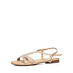 Evans - Extra wide fit nude diamante sandal