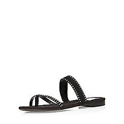Evans - Extra wide fit black suedette mini stud sandal