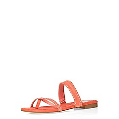 Evans - Extra wide fit orange suedette mini stud sandal