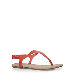 Evans - Extra wide fit coral basic toe post sandals