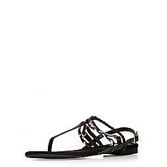Evans - Extra wide fit black patent toe post sandal