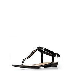 Evans - Extra wide fit black patent square toe sandal