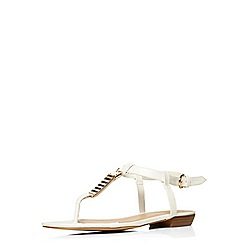 Evans - Extra wide fit white patent square toe sandal