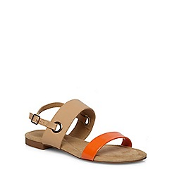 Evans - Extra wide fit orange and nude sandals