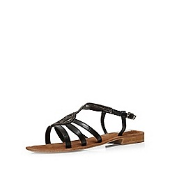 Evans - Extra wide fit black leather beaded sandal