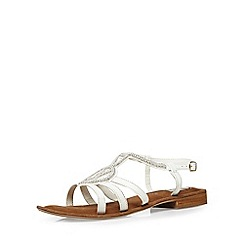 Evans - Extra wide fit white leather beaded sandal