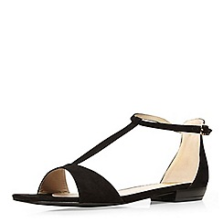 Evans - Black t-bar square toe sandal
