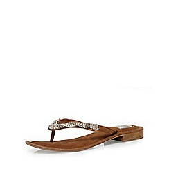Evans - Extra wide fit tan leather diamante sandal