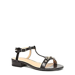 Evans - Extra wide fit black gem block heel sandals