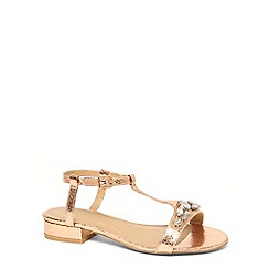 Evans - Extra wide fit gold gem block heel sandals