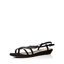 Evans - Extra wide fit black gem feather sandal