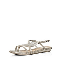 Evans - Extra wide fit silver gem feather sandal
