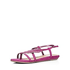 Evans - Extra wide fit pink gem feather sandal