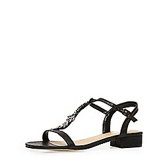 Evans - Extra wide fit black diamante sandal