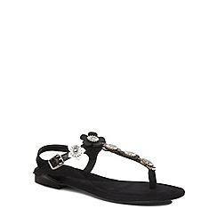 Evans - Extra wide fit black flower trim sandal
