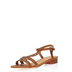 Evans - Extra wide fit tan studded sandals
