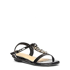 Evans - Extra wide fit black patent flower sandal