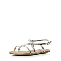 Evans - Extra wide fit silver toe post sandal
