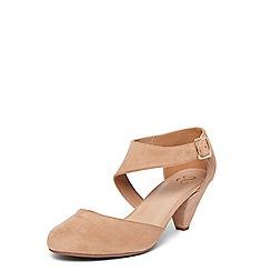Evans - Extra wide fit nude court heel sandals